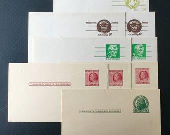 9 Vintage Blank Postcards and 5 Vintage Stamps