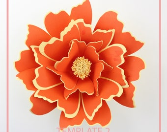 Paper Flower Template, Giant Paper Flower Templates, PDF Paper Flower, DIY Paper Flower, Base and Instruction Including