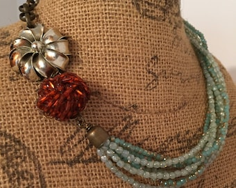 Old & New, Assemblage Necklace, Upcycled, Repurposed Jewelry, Steampunk, Boho