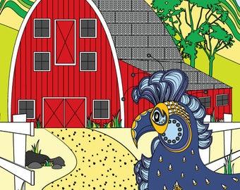 Rooster Sunrise - Art Card - Blank inside