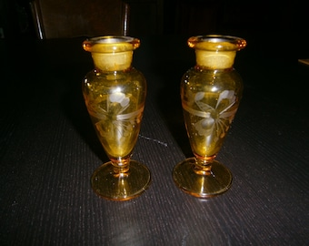 Cut Glass Cologne/Perfume Bottles, Pair, Amber, 1930s, Paden City, New Martinsville, Vintage
