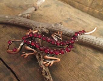 Vintage Copper Tone Salamander Ruby Red Rhinestone Brooch