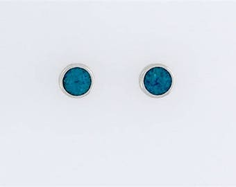 Sterling Silver Turquoise Round Post or Stud Earrings