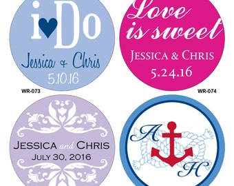 32 - 2.75 inch Custom Glossy Waterproof Wedding Stickers Labels - hundreds of designs to choose - change designs to any color or wording