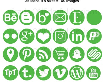 Green Social Media Icons, Social Media Buttons, Green Blog Icons, 100 Green Icons, Business Card Icons, Portfolio Icons, Blog Graphics