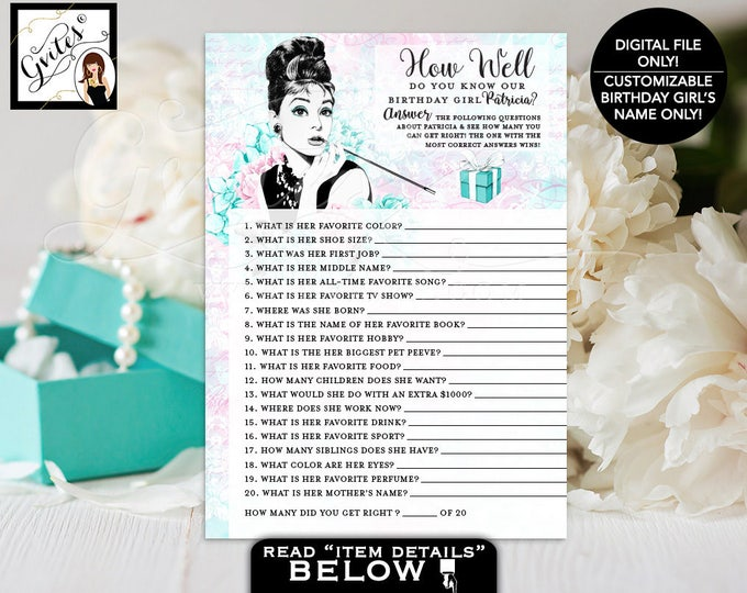 """How Well Do You Know The Birthday Girl - Audrey Hepburn party theme printable games, blue breakfast at co, PERSONALIZED NAME 5x7"""" 2/Per Sh"""