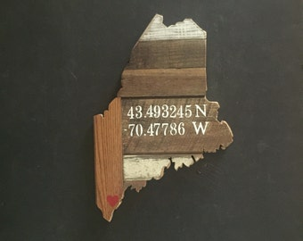 Maine--Antique Wood State Sign - Hand Stenciled on Reclaimed Wood - Customizable Country Chic Decor