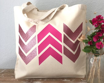 Pink Arrow Chevron Tote Bag  - beach bag, purse or bridesmaids gift