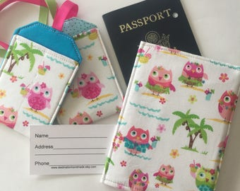 Passport Cover Party Owls,  Luggage tag set, Gift for Woman, passport case, travel gift with owls, Tropical travel