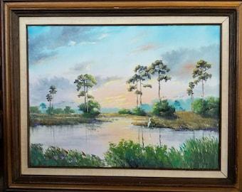 Original Oil Painting Florida Landscape Art Tropical Painting Pine Sunset Framed 18x24