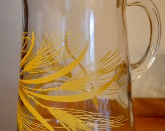 Tall Wheat-Embossed Glass Jug / Pitcher