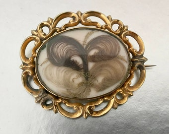 Antique English Pinchbeck Gold Locket Brooch. Hair Work Plumes. Georgian Victorian Memento Mori Double Sided Reversible Mourning Pin C1850