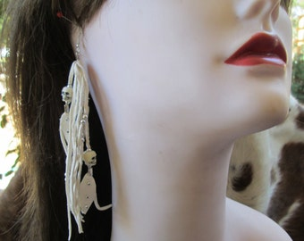 White Deerskin Leather  Earrings With Silver And Skull  Beads And Leather Feathers