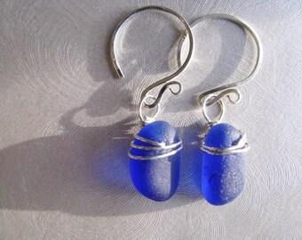 Genuine Sea Glass Earrings -Mothers Day Cobalt Blue-Beach Glass Earrings - Beach Glass Jewelry Authentic -Prince Edward Island