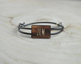 Bracelet Rectangle Bois Récupéré et Argent - Zen