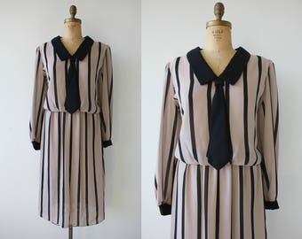 vintage 1980s dress / 80s secretary dress / 80s tie dress / 1980s black striped silky dress / beige and black dress / XL plus size