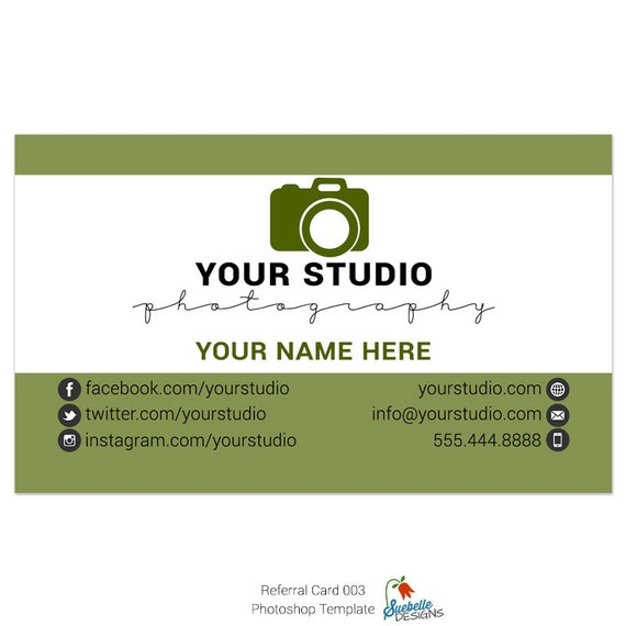 Referral business card size photoshop template 003 for professional referral business card size photoshop template 003 for professional photographers from suebelledesigns on etsy studio reheart Choice Image