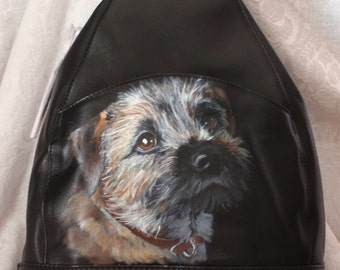 Leather Sling Backpack with YOUR Pet Portrait on it