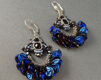 Blue//Steel//Black//Petals//Chandelier Earrings//Free Shipping