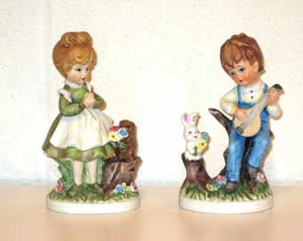 Vintage 1970s Porcelain Figurines / Spring Decor / Wedding Cake Topper / Wedding Gift
