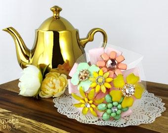 Hochzeit Brosche Bouquet, Broach Bouquet, Brosche Bouquet, Pastle Hochzeit, Flowergirl Bouquet, Brautjungfer Bouquet, Schaltfläche Bouquet, Zahlen Sie nur