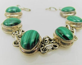 Taxco Silver & Malachite Chunky Sterling Silver Bracelet. Banded Green Agate Bracelet. Old Taxco Vintage Sterling Silver Jewelry