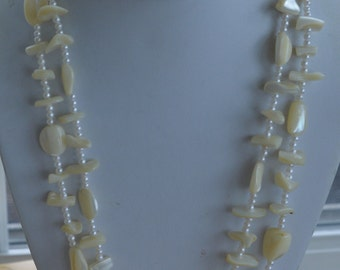"Pretty Vintage Mother of Pearl Chip Shell, Faux Pearl Necklace, Long, 50"" (C14)"