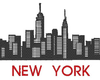 New York - City Skyline - Manhattan - Embroidery Design File - multiple formats -  sized for 5x7 hoop - instant download