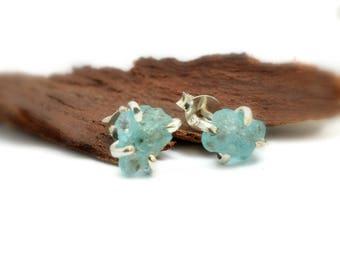 Raw apatite earrings studs, sterling silver apatite rough stone studs, uncut blue stone earrings, blue gemstone stud, apatite jewelry, Sale