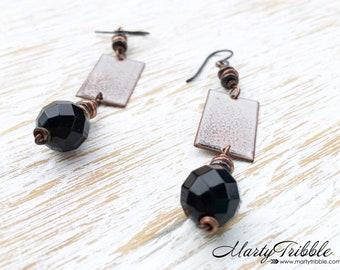 Onyx Earrings, Dangle Earrings, Long Earrings, Healing Jewelry, Black Earrings, Black Onyx, Onyx Jewelry, Art Deco Jewelry, Healing Crystals