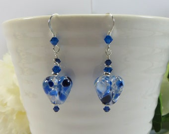 Blue Heart Earrings, Handmade British Artist Made Glass Heart Earrings, Speckled Blue Lampwork Heart Earrings w Sterling Silver & Swarovski