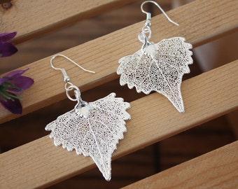 Silver Leaf Earrings, Cottonwood Leaf, Heart Shaped Earrings, Real Leaf Earrings, Cottonwood, Sterling Silver, Nature, LESM220