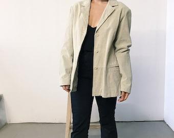 vintage 90s tan suede leather coat // medium