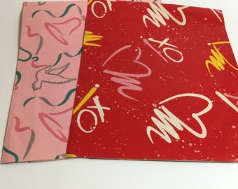 80's Love Wrapping Paper Lot of 2- Paint Splatter with Hearts and Abstract Wedding Bells Paper