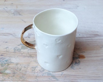 White handmade porcelain love mug with gold handle