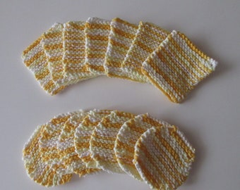 Facial Scrubbies, Cotton, Hand Knit, Set of 7, Round, Square, Yellow