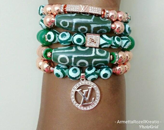 Designer Inspired DZI Green Stone & Rose Gold Hematite Paved Zircon Bracelet Stack, ladies stone Bracelet Stack, birthday gifts