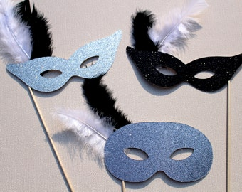 Photo Booth Props - Black, Silver, and Antique Silver Glitter Masquerade Masks - Set of 3 Glitter Props - Photobooth Props