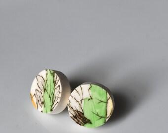 Simple Circle Broken China Stud Earrings - Green Leaf