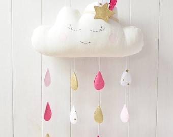 Cloud Mobile Cloud Baby Mobile Cloud Mobile Nursery Cloud Mobile Raindrops Cloud Mobile Baby Cloud Nursery Decor Raindrop Mobile For Nursery