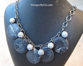 The Volcano, large lava rock penant stone necklace