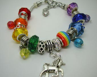 Unicorn Rainbow European charm faceted acrylic beads bracelet red orange yellow green blue purple You pick chain size Help save a cat/kitten