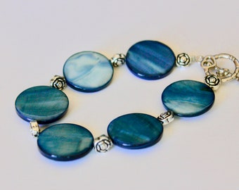 Blue Disc Bracelet with Rose Accent Beads