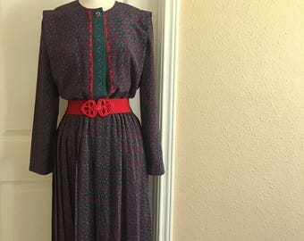 Vintage Blue And Red PAISLEY Floral Dress / 1980s Leslie Fay Pattern Dress  / Womens Extra Lage