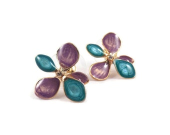 purple gold earrings for women flower gold studs floral jewelry nature inspired statement multicolored jewelry enamel posts