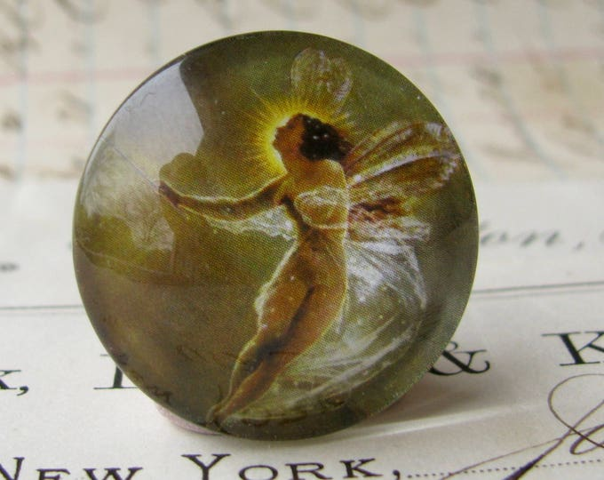 """25mm glass cabochon """"Absinthe Fairy"""" artisan crafted, 1 inch bottle cap size, emerald green fairy, Magical Maidens collection"""