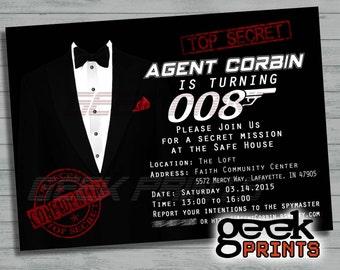 James bond casino royale movie theme birthday invitation secret agent james bond 007 movie theme birthday photo invitation custom printable stopboris Images