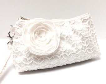 Bridal Bridesmaid Clutch Purse Rectangular Wristlet - Geometric Lace Overlay on Ivory Cream Satin with Flower Brooch