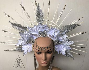 Winter Goddess Halo - Snow Queen Crown - Halo - Gothic Headpiece - White headdress - Tribal Headdress - Headpiece with spikes