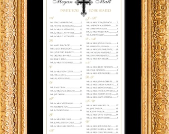 Cross Seating Chart, Confirmation, Baptism, Religious, Table Assignment, Wedding-Print Yourself, Sm, Medium or Lg sizes  130 to 300 guests